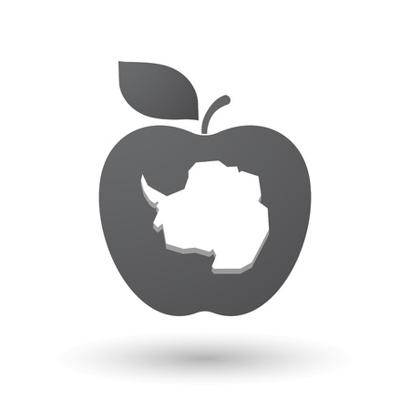 antarctica: Illustration of an isolated apple fruit with  the map of  Antarctica