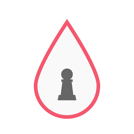 blood line: Illustration of an isolated line art blood drop with a  pawn chess figure