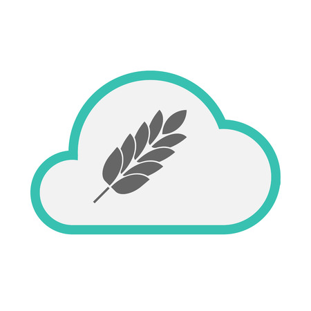 Illustration of an isolated line art cloud with  a wheat plant icon Illustration