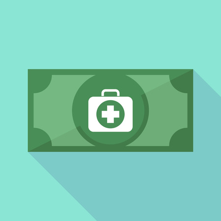financial emergency: Illustration of a long shadow bank note with  a first aid kit icon