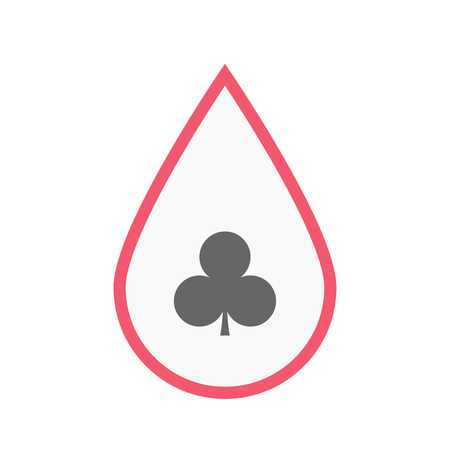 blood line: Illustration of an isolated line art blood drop with  the  Club  poker playing card sign