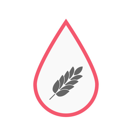blood line: Illustration of an isolated line art blood drop with  a wheat plant icon
