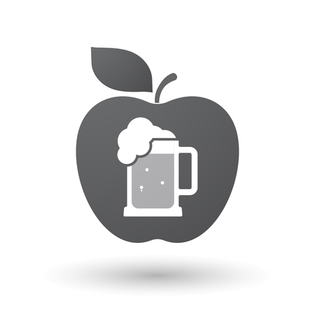 tarro cerveza: Illustration of an isolated apple fruit with  a beer jar icon