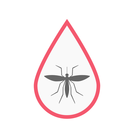 Illustration of an isolated line art blood drop with  a mosquito