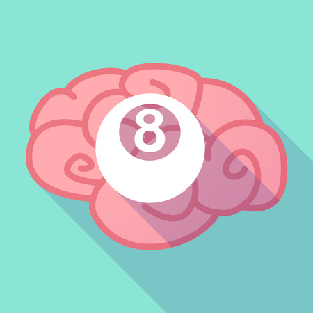 pool ball: Illustration of a long shadow brain with  a pool ball
