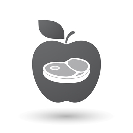 Illustration of an isolated apple fruit with  a steak icon Ilustrace