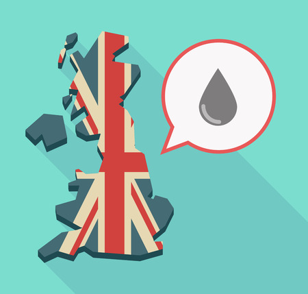Illustration of a long shadow UK  map and its flag with a comic balloon and a blood drop