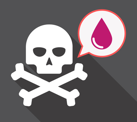 Illustration of a long shadow skull and bones  with a comic balloon and a blood drop