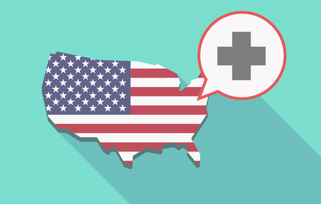 its: Illustration of a long shadow USA  map and its flag with a comic balloon and a pharmacy sign