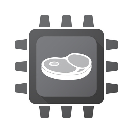 Illustration of an isolated CPU chip with  a steak icon