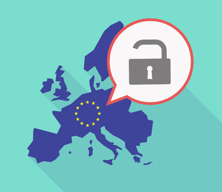 Illustration of a long shadow EU map, and its flag with a comic balloon and an open lock pad