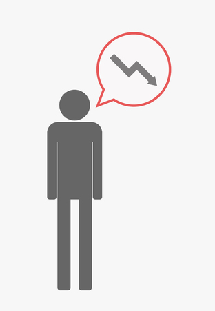 descending: Illustration of an isolated male pictogram with  with a comic balloon and a descending graph