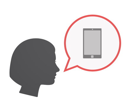 Illustration of an isolated female head  with a comic balloon and a smart phone