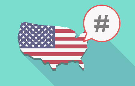 hash: Illustration of a long shadow USA  map and its flag with a comic balloon and a hash tag