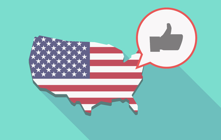 Illustration of a long shadow USA  map and its flag with a comic balloon and a thumb up hand
