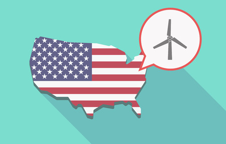 Illustration of a long shadow USA  map and its flag with a comic balloon and a wind turbine Illustration
