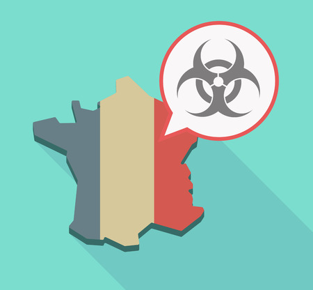Illustration of a long shadow France map and its flag with a comic balloon and a biohazard sign Ilustração