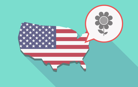 Illustration of a long shadow USA  map and its flag with a comic balloon and a flower