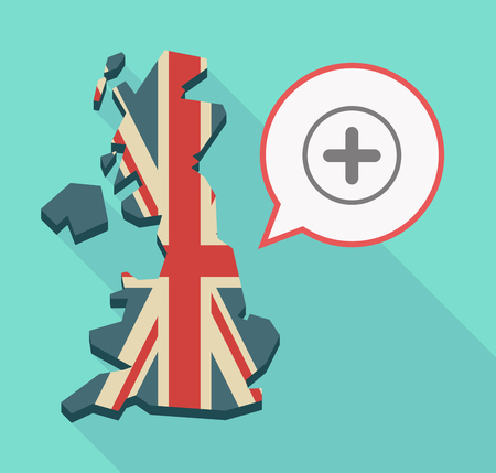 Illustration of a long shadow UK  map and its flag with a comic balloon and a sum sign