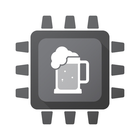 tarro cerveza: Illustration of an isolated CPU chip with  a beer jar icon