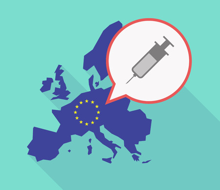 Illustration of a long shadow EU map, and its flag  with a comic balloon and a syringe Illustration