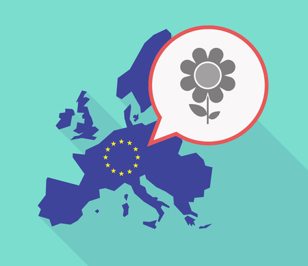 Illustration of a long shadow EU map with a comic balloon and a flower