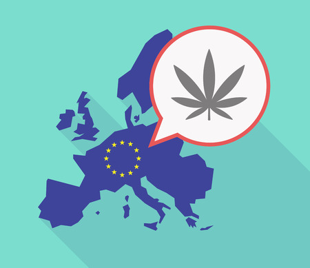 Illustration of a long shadow EU map with a comic balloon and a marijuana leaf