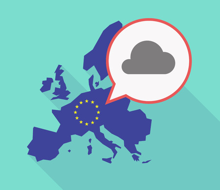 Illustration of a long shadow EU map, and its flag with a comic balloon and a cloud