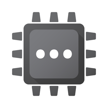 ellipsis: Illustration of an isolated CPU chip with  an ellipsis orthographic sign Illustration