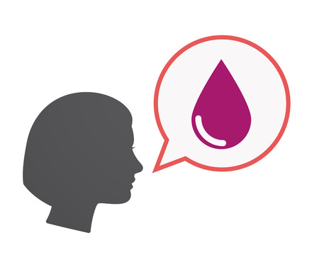 speech bubble hospital: Illustration of an isolated female head  with a comic balloon and a blood drop Illustration