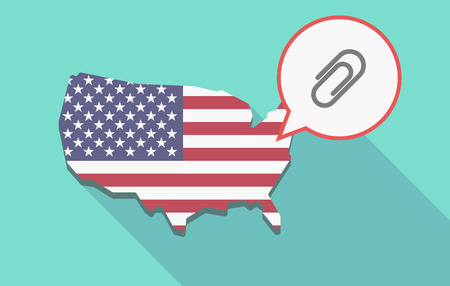 Illustration of a long shadow USA  map and its flag with a comic balloon and a clip