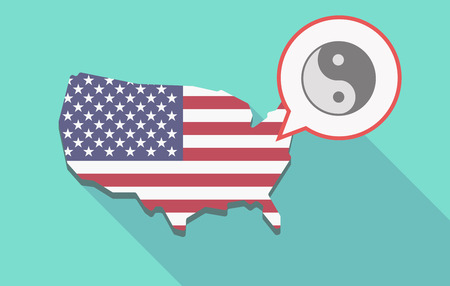 Illustration of a long shadow USA  map and its flag with a comic balloon and a ying yang