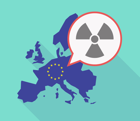 Illustration of a long shadow EU map, and its flag  with a comic balloon and a radio activity sign Illustration