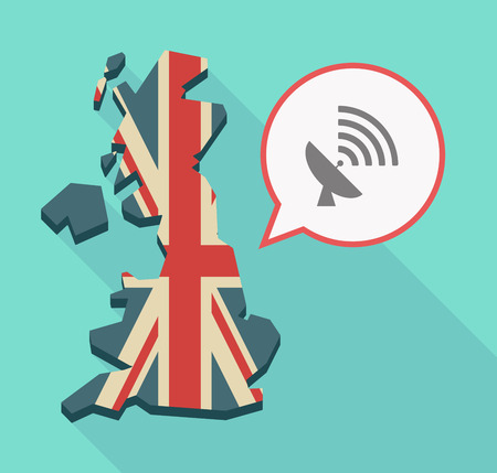 receiver: Illustration of a long shadow UK  map and its flag with a comic balloon and a satellite dish