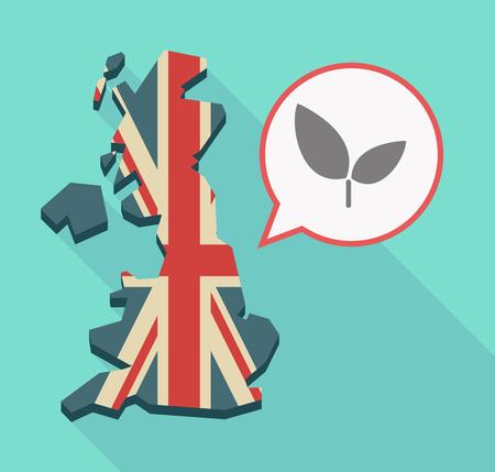 Illustration of a long shadow UK  map and its flag with a comic balloon and a plant