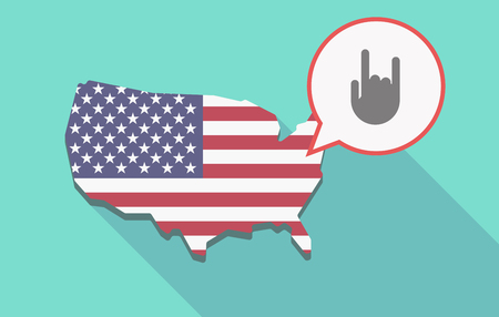 Illustration of a long shadow USA  map and its flag with a comic balloon and a rocking hand