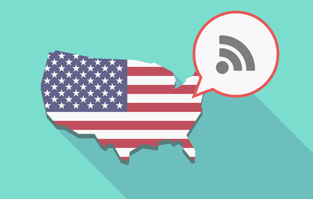 really simple syndication: Illustration of a long shadow USA  map and its flag with a comic balloon and an RSS sign