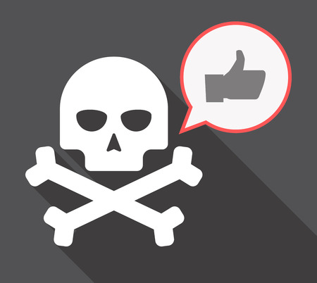 Illustration of a long shadow skull and bones  with a comic balloon and a thumb up hand Illustration