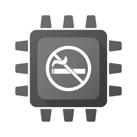 tech no: Illustration of an isolated CPU chip with  a no smoking sign