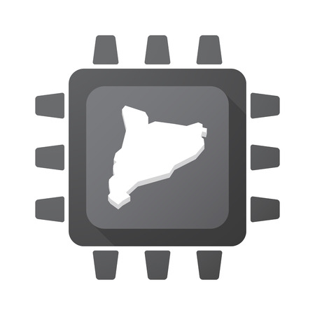 Illustration of an isolated CPU chip with the map of Catalonia
