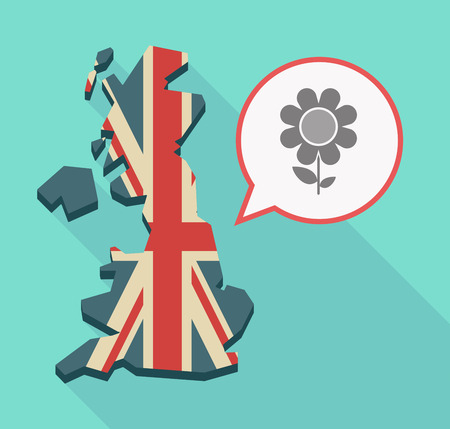 Illustration of a long shadow UK  map and its flag with a comic balloon and a flower