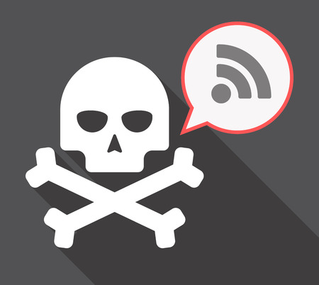Illustration of a long shadow skull and bones  with a comic balloon and an RSS sign
