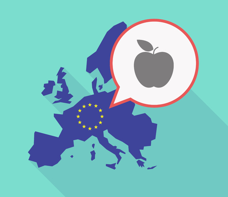 Illustration of a long shadow EU map, and its flag  with a comic balloon and an apple