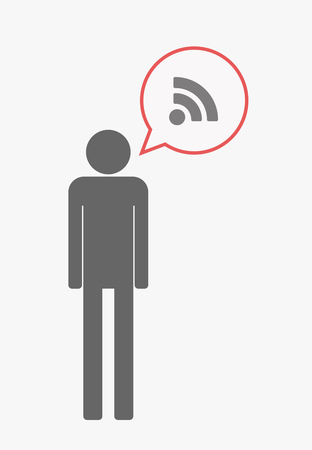 really simple syndication: Illustration of an isolated male pictogram with  with a comic balloon and an RSS sign Illustration