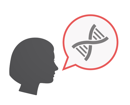 Illustration of an isolated female head  with a comic balloon and a DNA sign