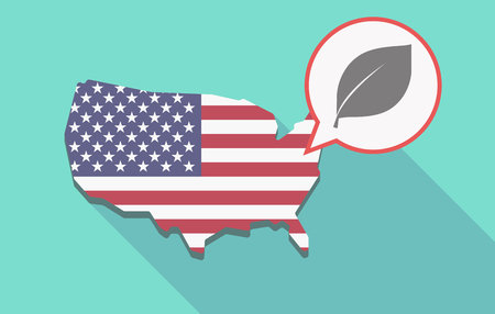 Illustration of a long shadow USA  map and its flag with a comic balloon and a leaf