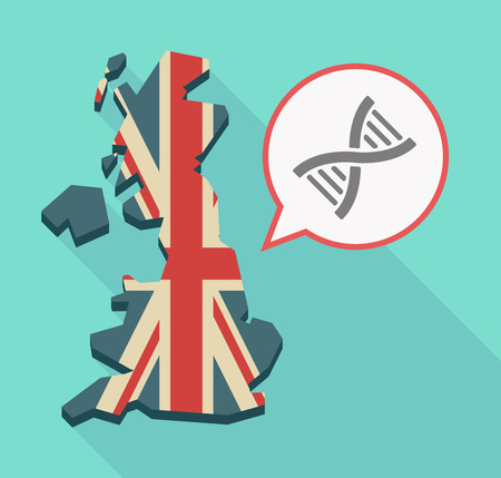 Illustration of a long shadow UK  map and its flag with a comic balloon and a DNA sign