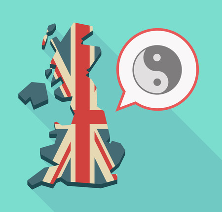 Illustration of a long shadow UK  map and its flag with a comic balloon and a ying yang