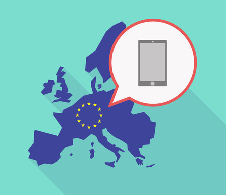 Illustration of a long shadow EU map, and its flag  with a comic balloon and a smart phone