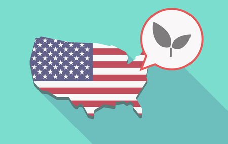 its: Illustration of a long shadow USA  map and its flag with a comic balloon and a plant